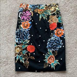 Anthropologie Baraschi black floral pencil skirt 4